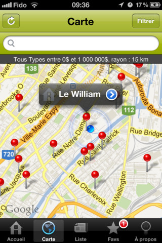 Application iPhone Projet Habitation - Carte