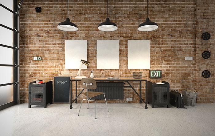Decoration maison ou condo neuf bureau industriel