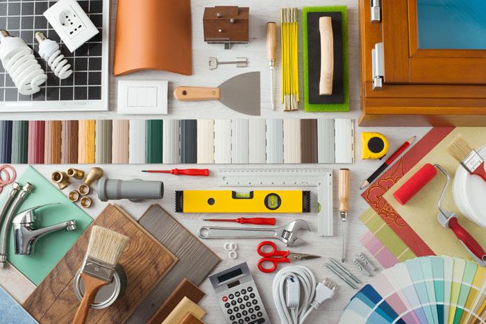 Renovation de maison ou condo neuf avec differents outils